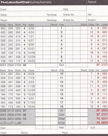 Scorecard for The Lakes Golf Club