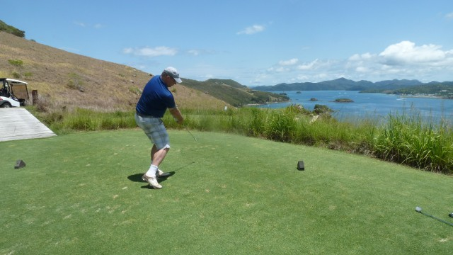 Me teeing off from the 16th tee at Hamilton Island Golf Club