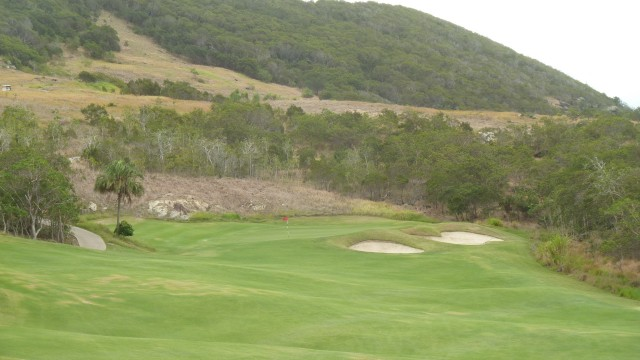 Looking up to the green on the 1st hole at Hamilton Island Golf Club