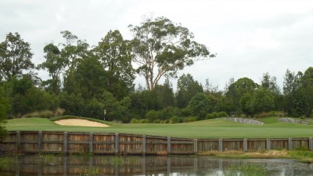 Looking at the 18th green from the clubhouse at Kooindah Waters Golf Club