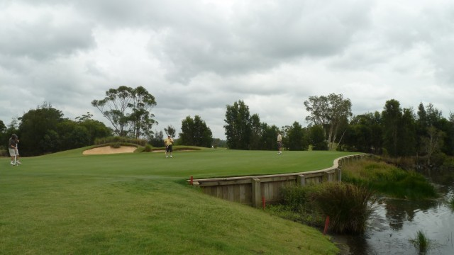 The 2nd green at Kooindah Waters Golf Club