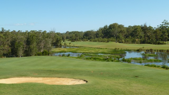 Looking at the 9th green from the clubhouse at Kooindah Waters Golf Club