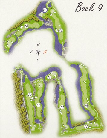 Course map for back 9 at Kooindah Waters Golf Club