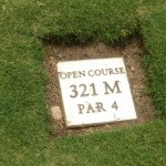 The tee marker at Moonah Links Open Course