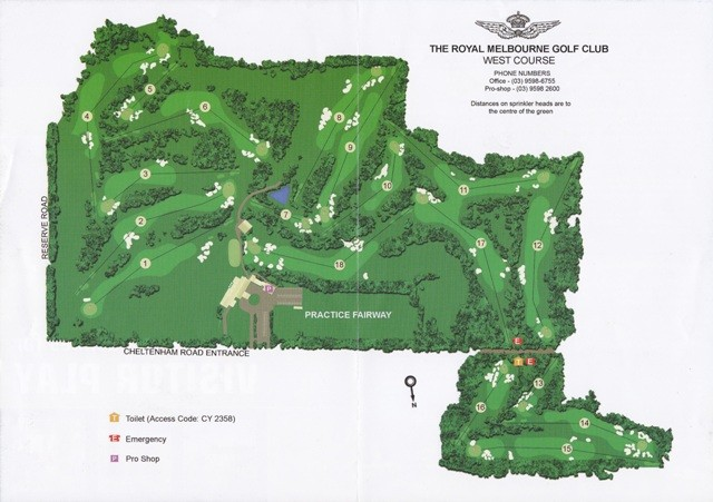 Map of West Course at Royal Melbourne Golf Club