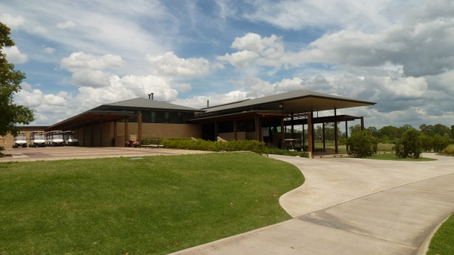 The clubhouse at Twin Creeks Golf & Country Club