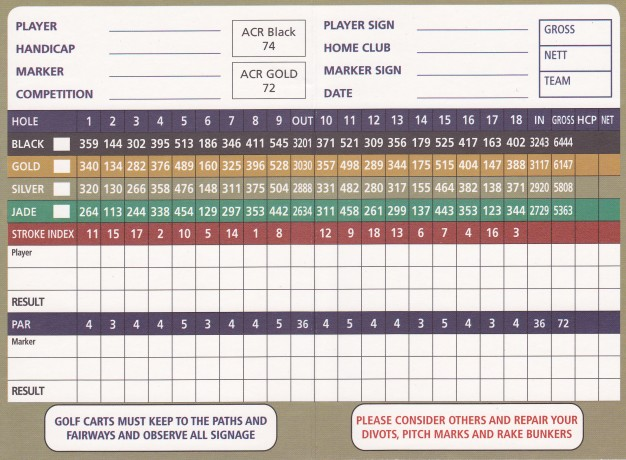 Scorecard for Twin Creeks Golf & Country Club