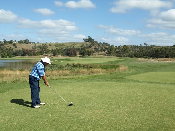 Colin teeing of on the 9th at Heritage Golf & Country Club St Johns Course