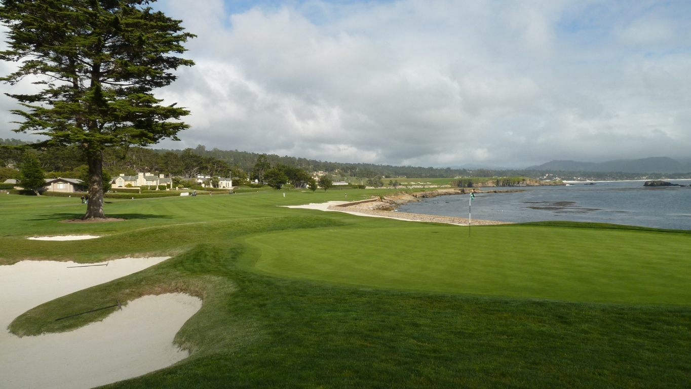 The 18th green at Pebble Beach Golf Links