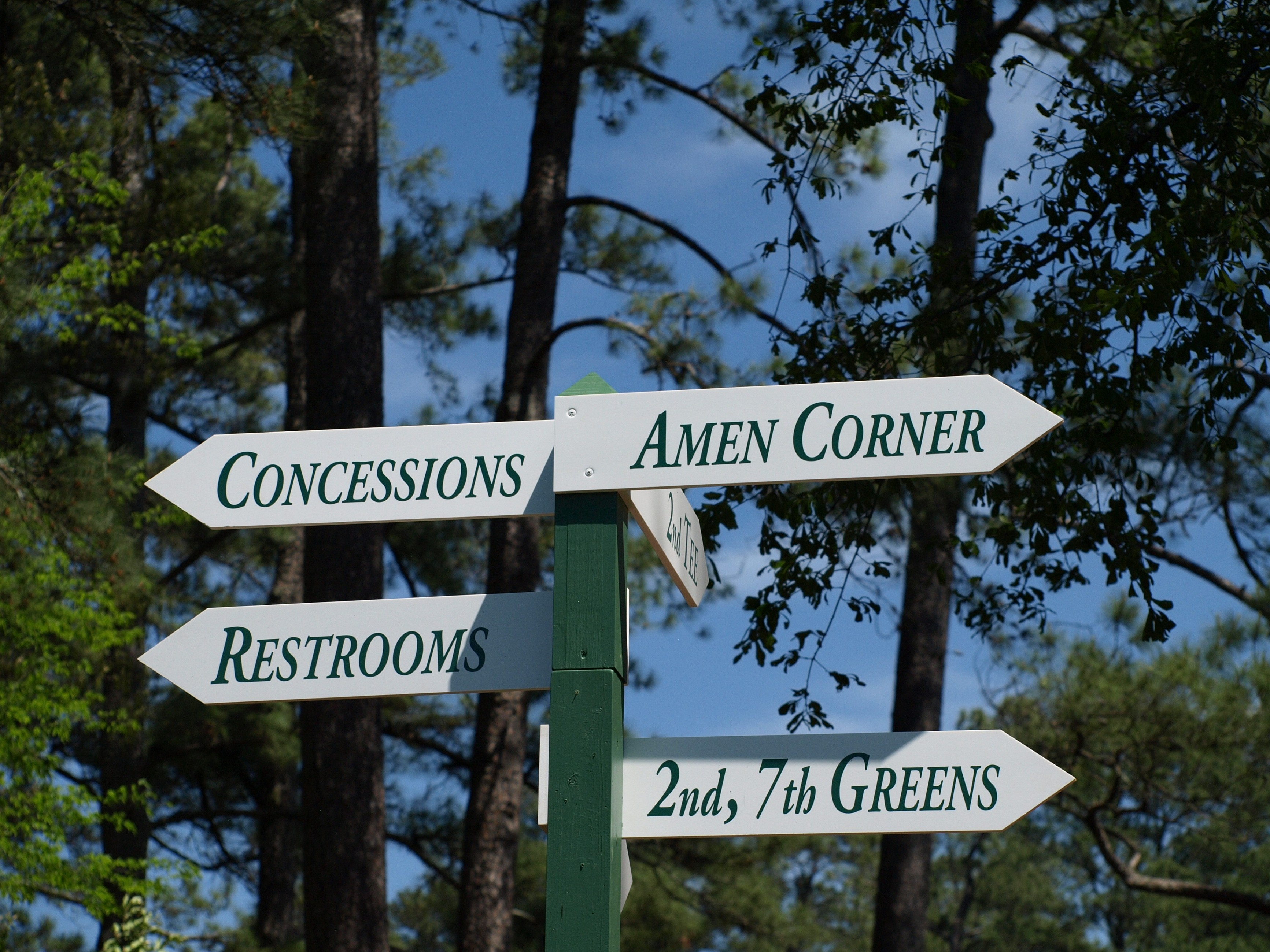 Sign to Amen Corner at Augusta National Golf Club