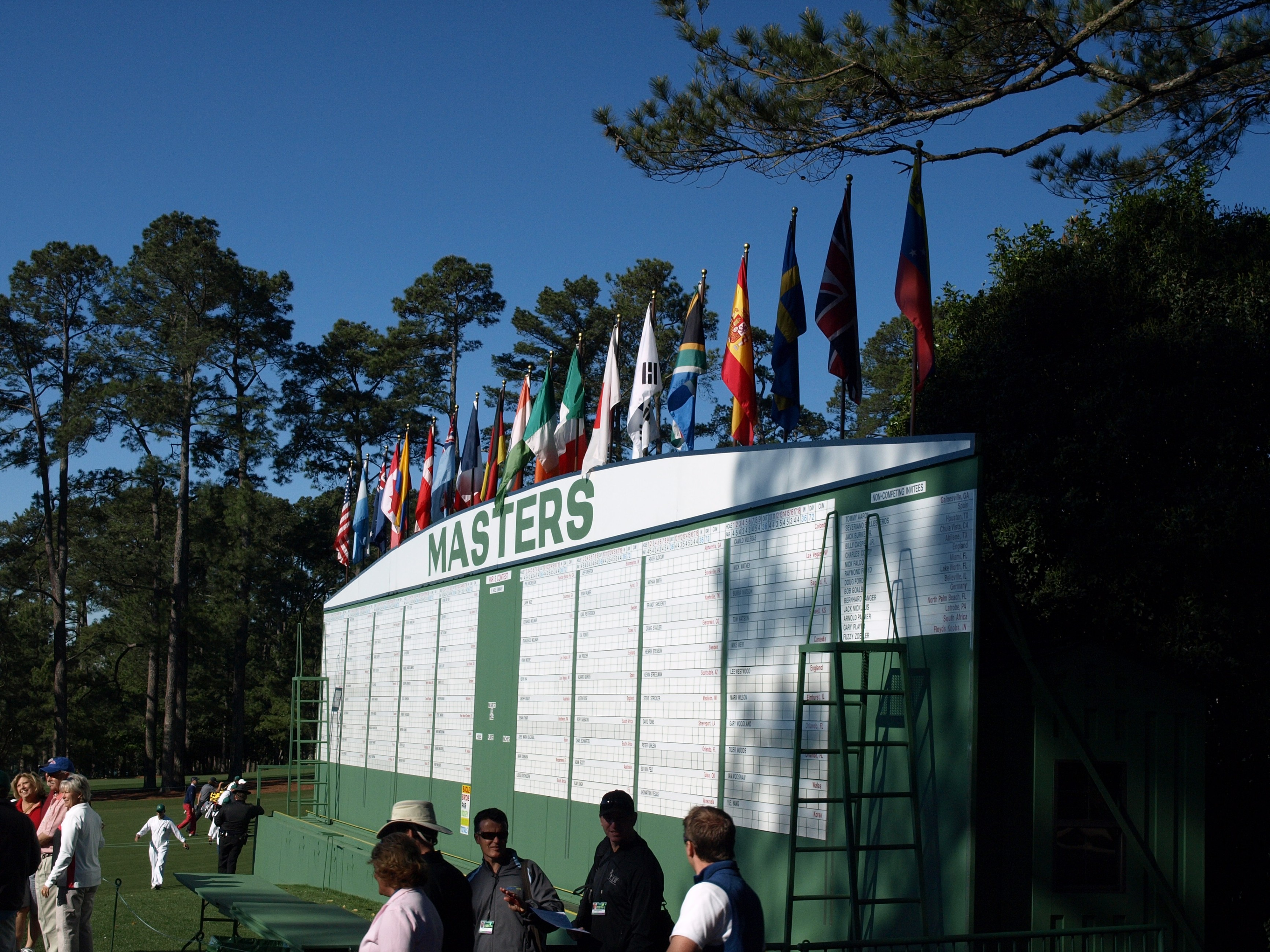 The main scoreboard at Augusta National Golf Club
