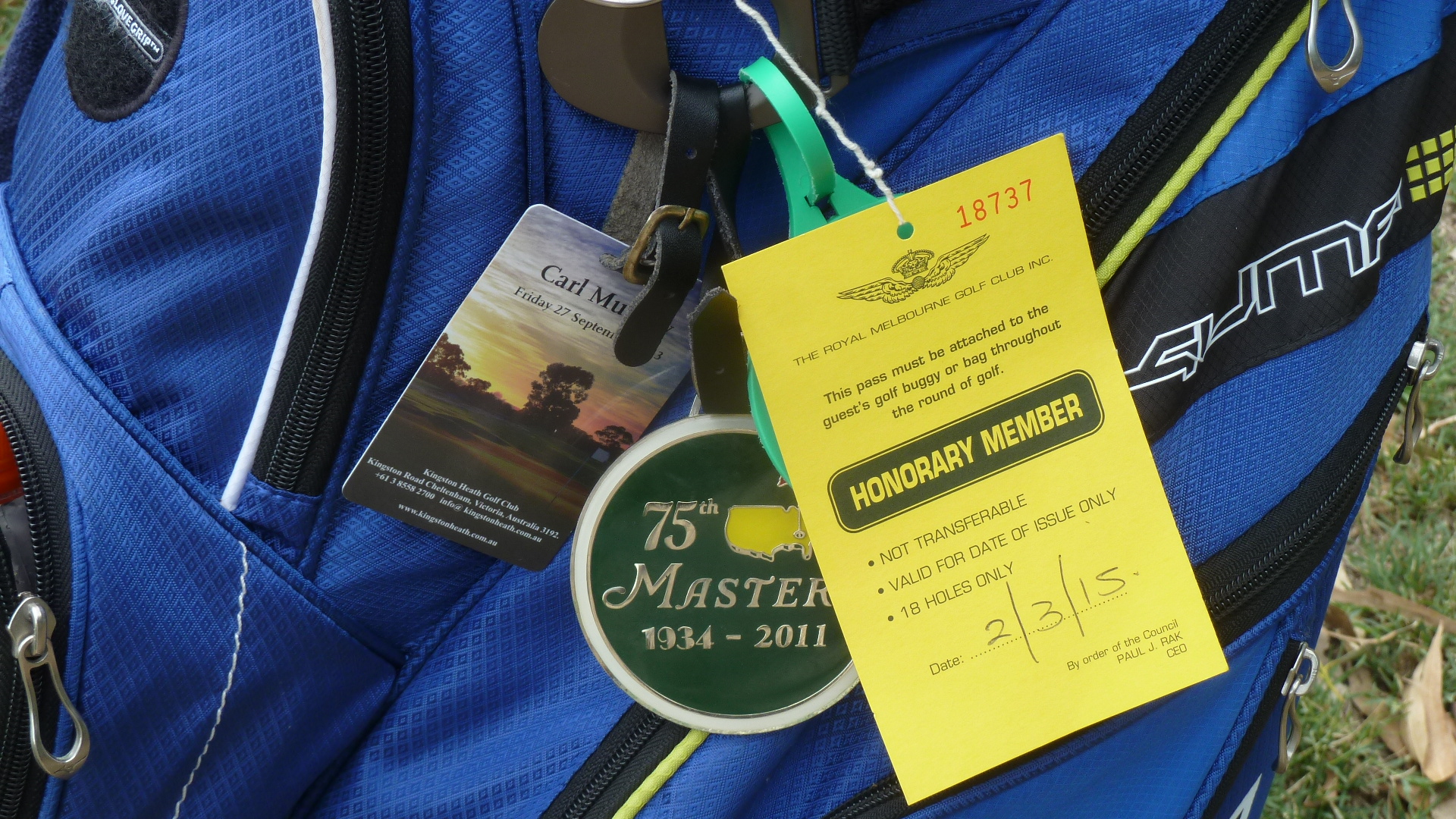 Visitor tag at Royal Melbourne Golf Club