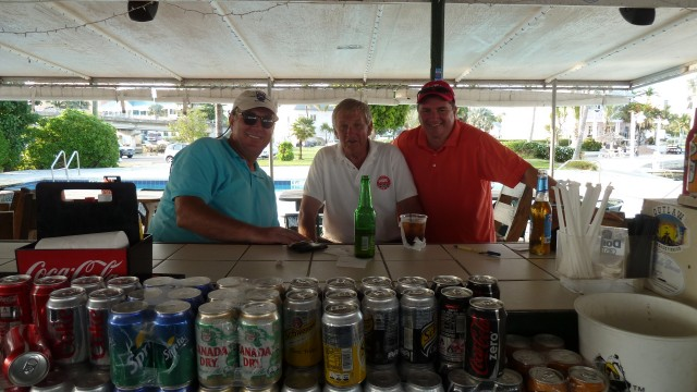 Drinks with playing partners after playing at the Ocean Club