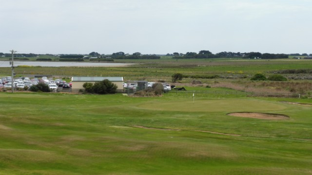 The 18th green at Port Fairy Golf Links