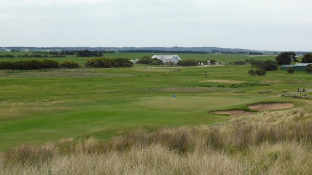 The 1st green at Port Fairy Golf Links