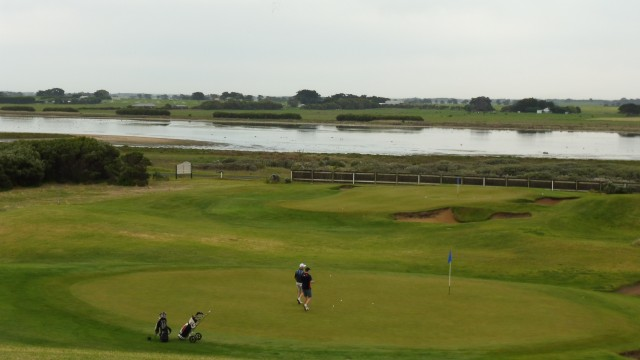 Looking down at the 7th and 8th Green at Port Fairy Golf Links