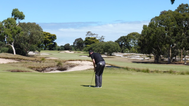James putting on the 15th green at Victoria Golf Club