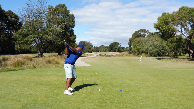 Izzy teeing off on the 9th tee at Victoria Golf Club