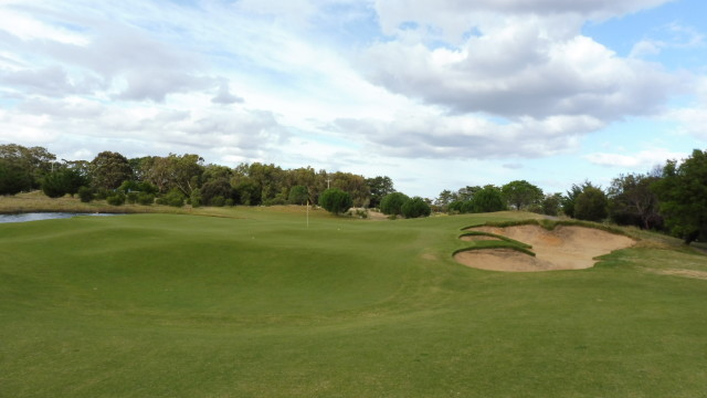 The 12th green at Thirteenth Beach Golf Links Creek Course