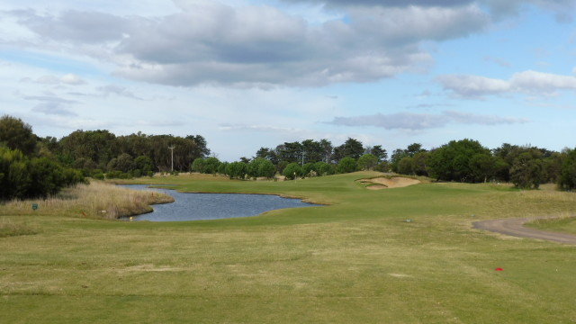 The 12th tee at Thirteenth Beach Golf Links Creek Course