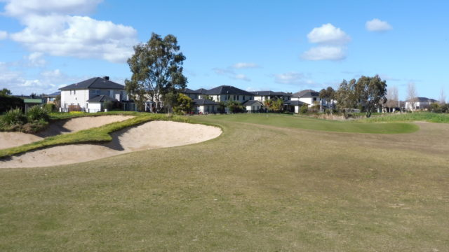 The 12th green at Sanctuary Lakes Golf Club