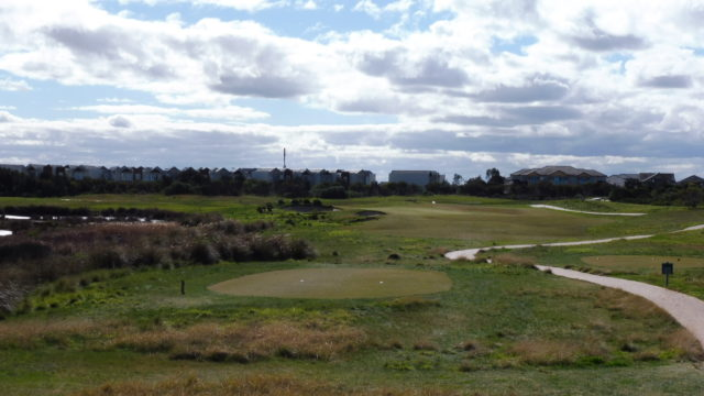 The 17th tee at Sanctuary Lakes Golf Club