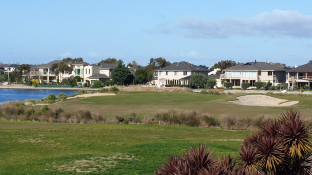 The 18th green at Sanctuary Lakes Golf Club