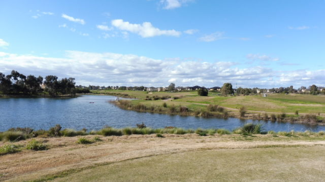 The 4th tee at Sanctuary Lakes Golf Club