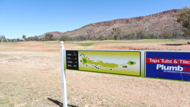 Hole marker at Alice Springs Golf Club