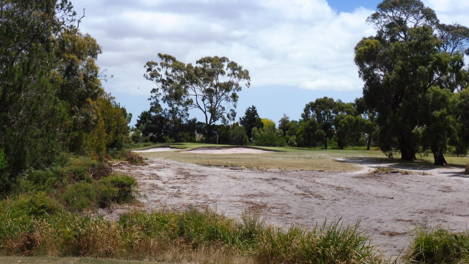 The 14th temporary hole at Cranbourne Golf Club