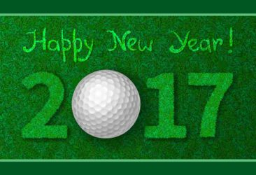 Golf ball in sign of Happy New Year 2017