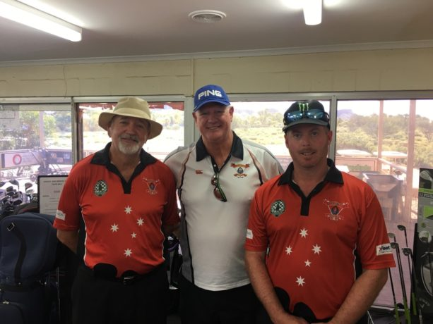 Daynor Mal and Brad from Police group at Alice Springs Golf Club