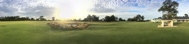 Panoramic view from 1st Tee at Kingston Heath Golf Club