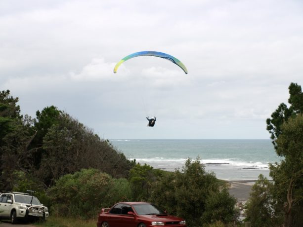 Parasailing near the 6th green at Flinders Golf Club