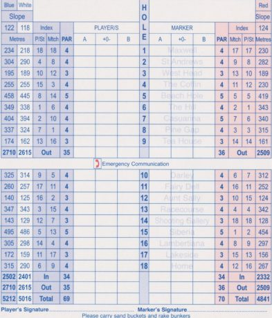 Scorecard for Flinders Golf Club