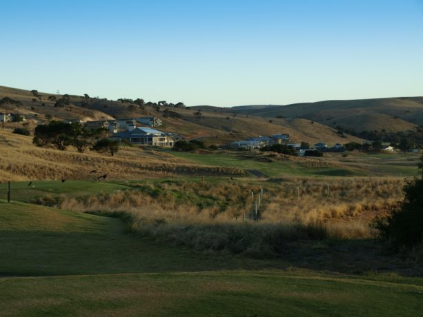 The 18th tee at Links Lady Bay Golf Resort