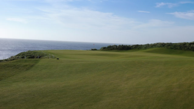The 12th green at Cape Wickham Links