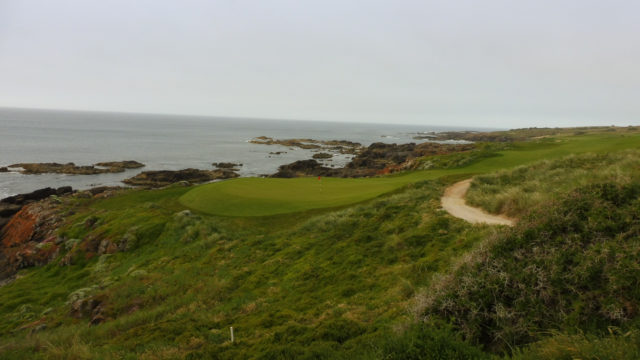 The 16th green at Cape Wickham Links