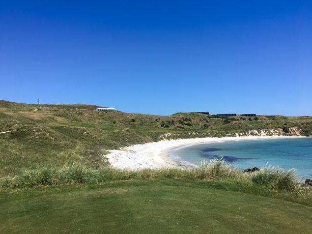 The 18th tee at Cape Wickham Links