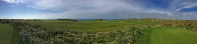 Panoramic view from the 5th tee at Cape Wickham Links