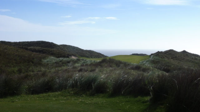 The 9th tee at Cape Wickham Links