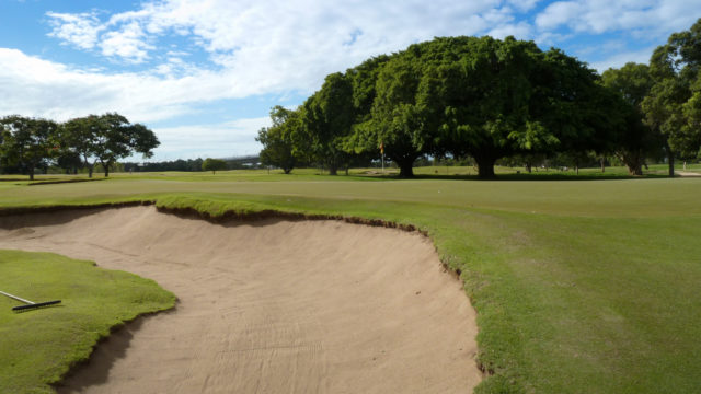 Photo from 2012 of 10th bunker at Royal Queensland Golf Club