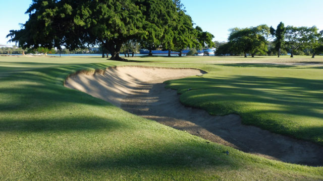 2017 photo of 10th bunker at Royal Queensland Golf Club