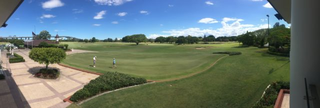 Panoramic view from the clubhouse at Royal Queensland Golf Club