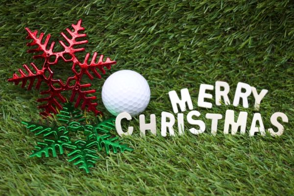 Christmas Golf Ball on Grass
